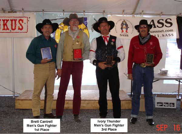 Brett Cantrell and Ivory Thunder placed 1st and 3rd in Gunfighter.